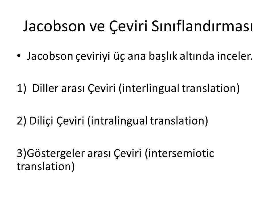 Jacobson ve Çeviri Sınıflandırması