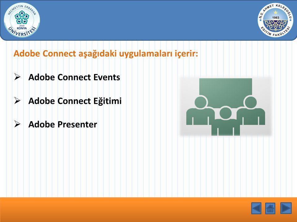 Adobe Connect aşağıdaki uygulamaları içerir: