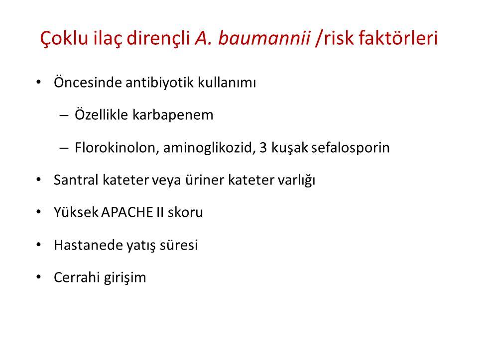 Çoklu ilaç dirençli A. baumannii /risk faktörleri
