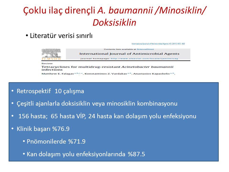 Çoklu ilaç dirençli A. baumannii /Minosiklin/ Doksisiklin