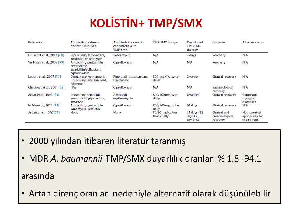 KOLİSTİN+ TMP/SMX 2000 yılından itibaren literatür taranmış