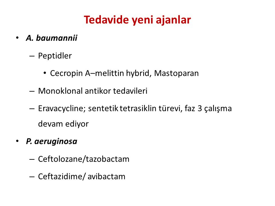 Tedavide yeni ajanlar A. baumannii Peptidler