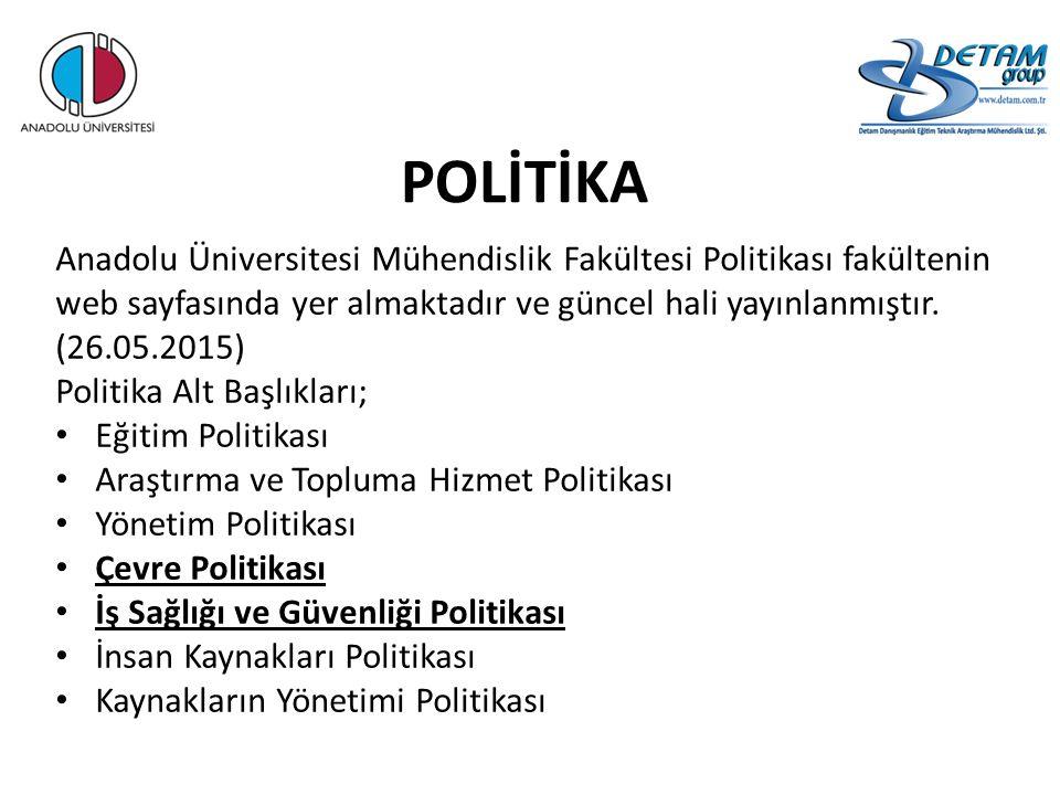 POLİTİKA Anadolu Üniversitesi Mühendislik Fakültesi Politikası fakültenin web sayfasında yer almaktadır ve güncel hali yayınlanmıştır. (26.05.2015)
