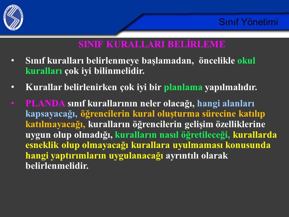 SINIF KURALLARI BELİRLEME