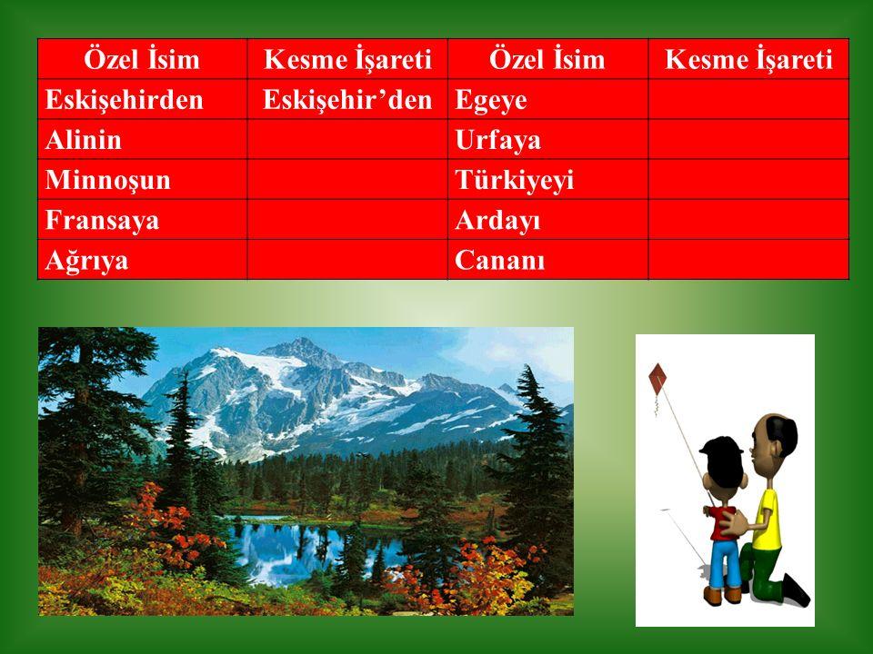 Özel İsim Kesme İşareti. Eskişehirden. Eskişehir'den. Egeye. Alinin. Urfaya. Minnoşun. Türkiyeyi.