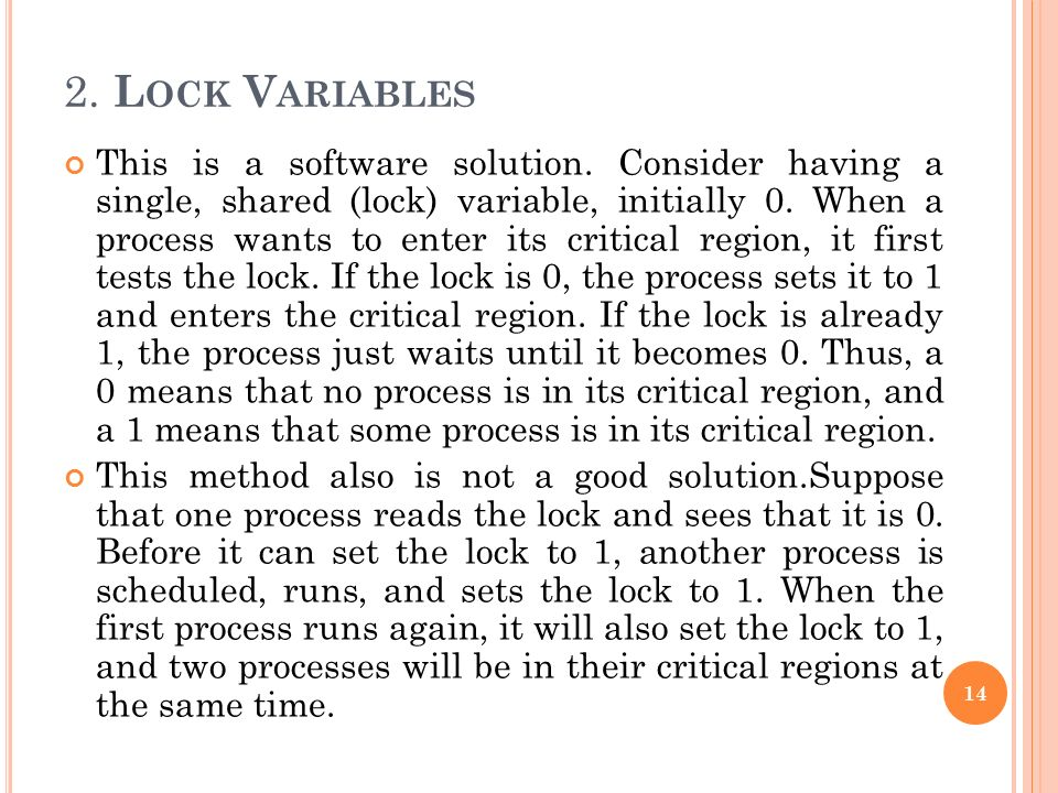 2. Lock Variables