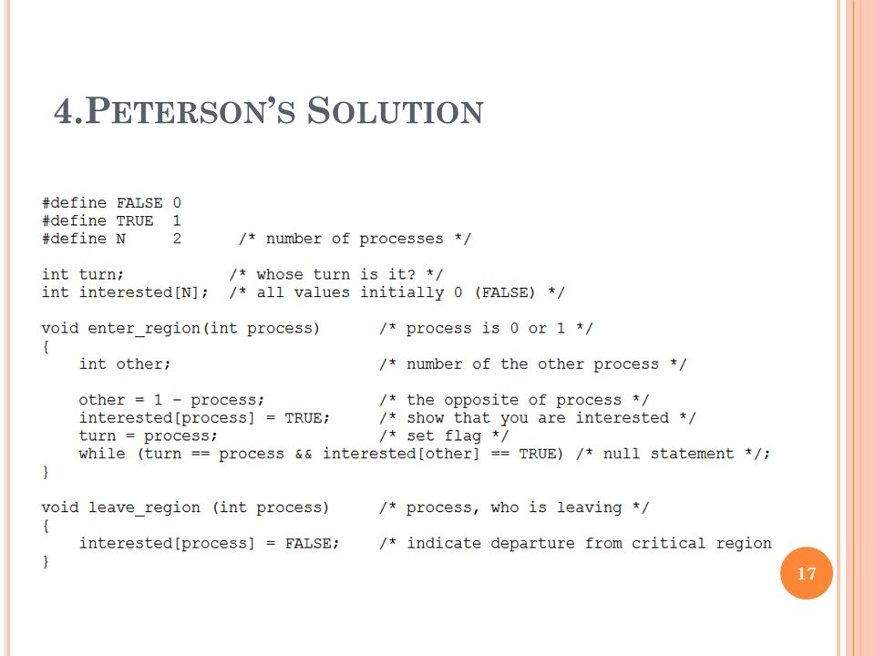 4.Peterson's Solution