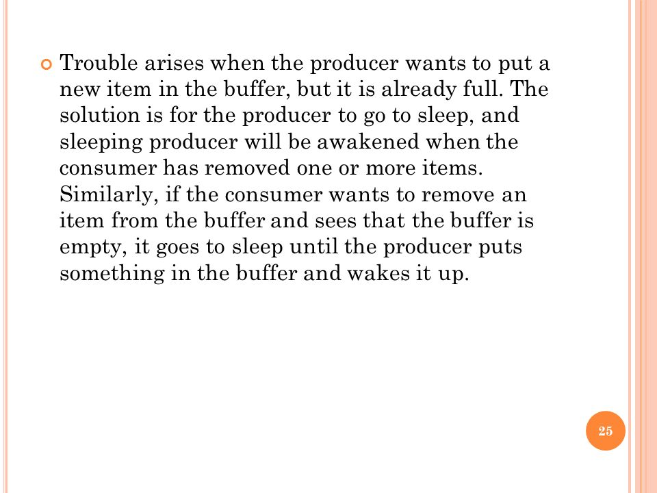 Trouble arises when the producer wants to put a new item in the buffer, but it is already full.