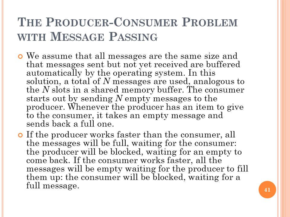 The Producer-Consumer Problem with Message Passing