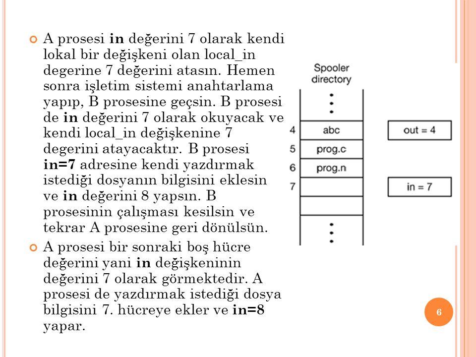 A prosesi in değerini 7 olarak kendi lokal bir değişkeni olan local_in degerine 7 değerini atasın. Hemen sonra işletim sistemi anahtarlama yapıp, B prosesine geçsin. B prosesi de in değerini 7 olarak okuyacak ve kendi local_in değişkenine 7 degerini atayacaktır. B prosesi in=7 adresine kendi yazdırmak istediği dosyanın bilgisini eklesin ve in değerini 8 yapsın. B prosesinin çalışması kesilsin ve tekrar A prosesine geri dönülsün.