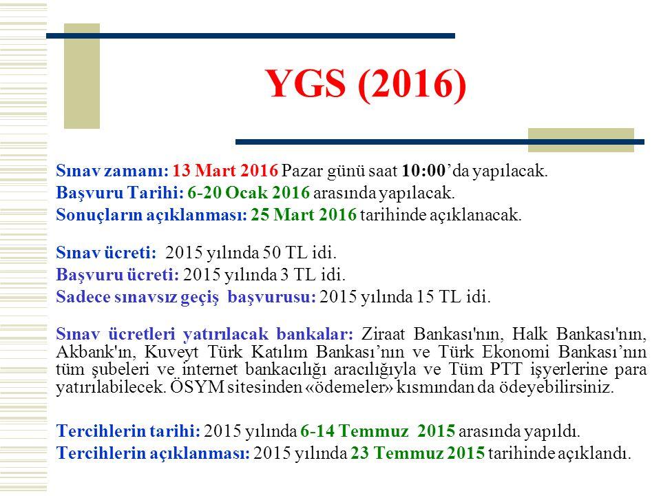 YGS (2016) Sınav zamanı: 13 Mart 2016 Pazar günü saat 10:00'da yapılacak. Başvuru Tarihi: 6-20 Ocak 2016 arasında yapılacak.