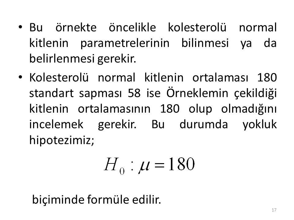 Bu örnekte öncelikle kolesterolü normal kitlenin parametrelerinin bilinmesi ya da belirlenmesi gerekir.