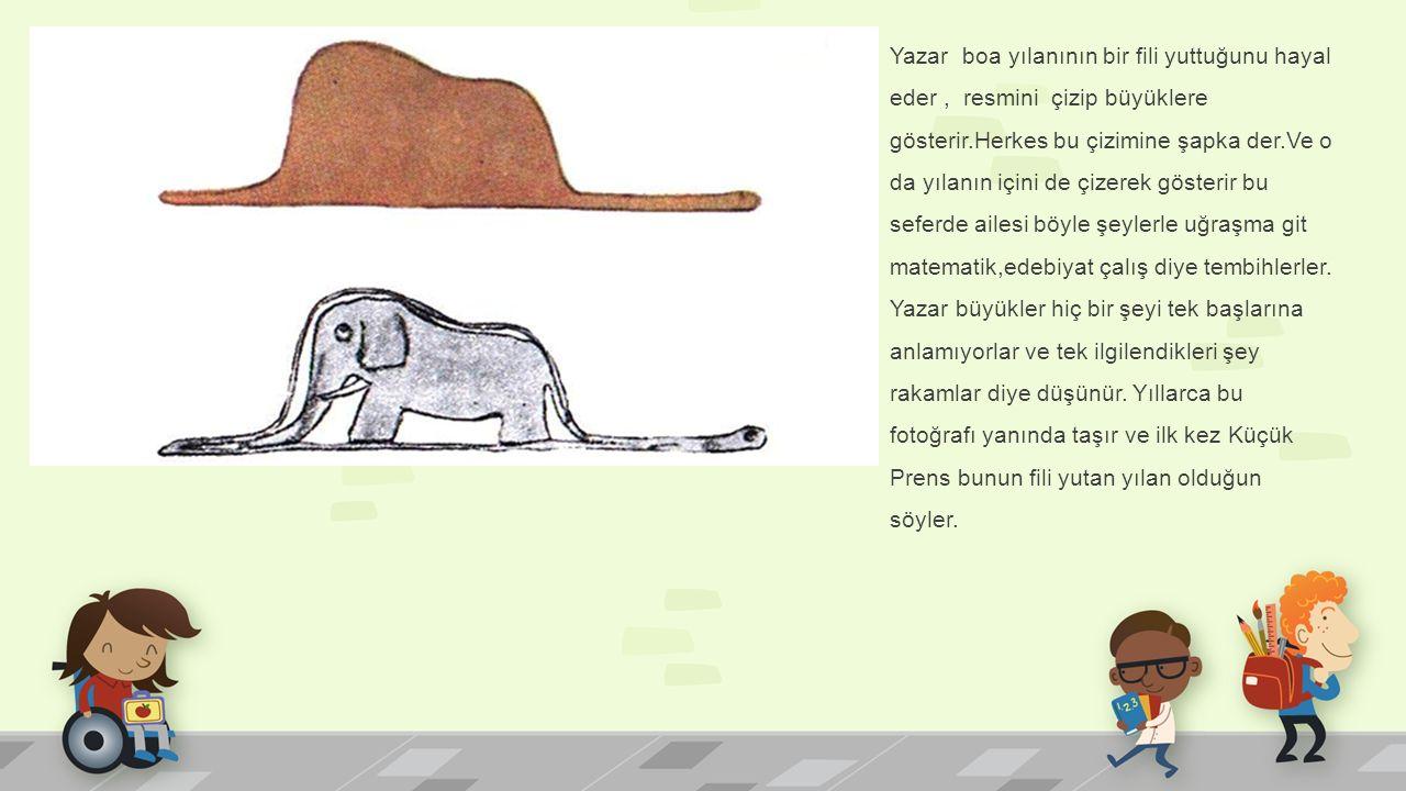 Yazar boa yılanının bir fili yuttuğunu hayal eder , resmini çizip büyüklere gösterir.Herkes bu çizimine şapka der.Ve o da yılanın içini de çizerek gösterir bu seferde ailesi böyle şeylerle uğraşma git matematik,edebiyat çalış diye tembihlerler.