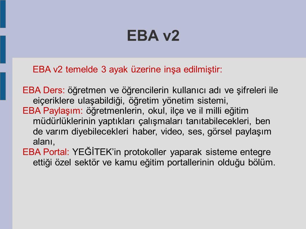 EBA v2 EBA v2 temelde 3 ayak üzerine inşa edilmiştir: