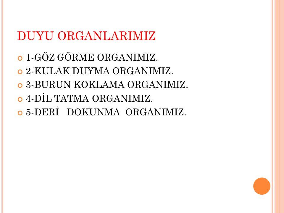 DUYU ORGANLARIMIZ 1-GÖZ GÖRME ORGANIMIZ. 2-KULAK DUYMA ORGANIMIZ.