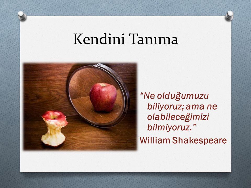 Kendini Tanıma Ne olduğumuzu biliyoruz; ama ne olabileceğimizi bilmiyoruz. William Shakespeare