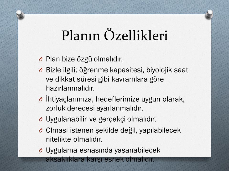 Planın Özellikleri Plan bize özgü olmalıdır.