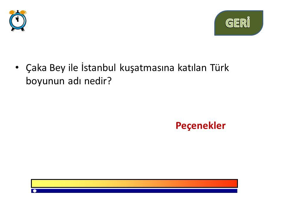 GERİ Çaka Bey ile İstanbul kuşatmasına katılan Türk boyunun adı nedir