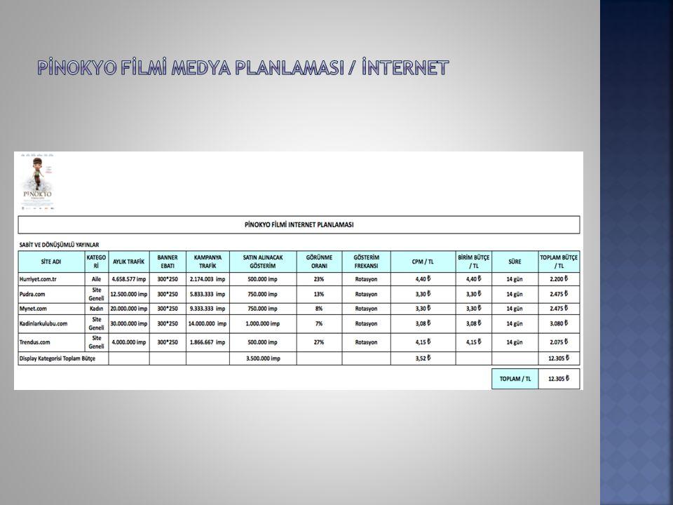 PİNOKYO FİLMİ MEDYA PLANLAMASI / İNTERNET