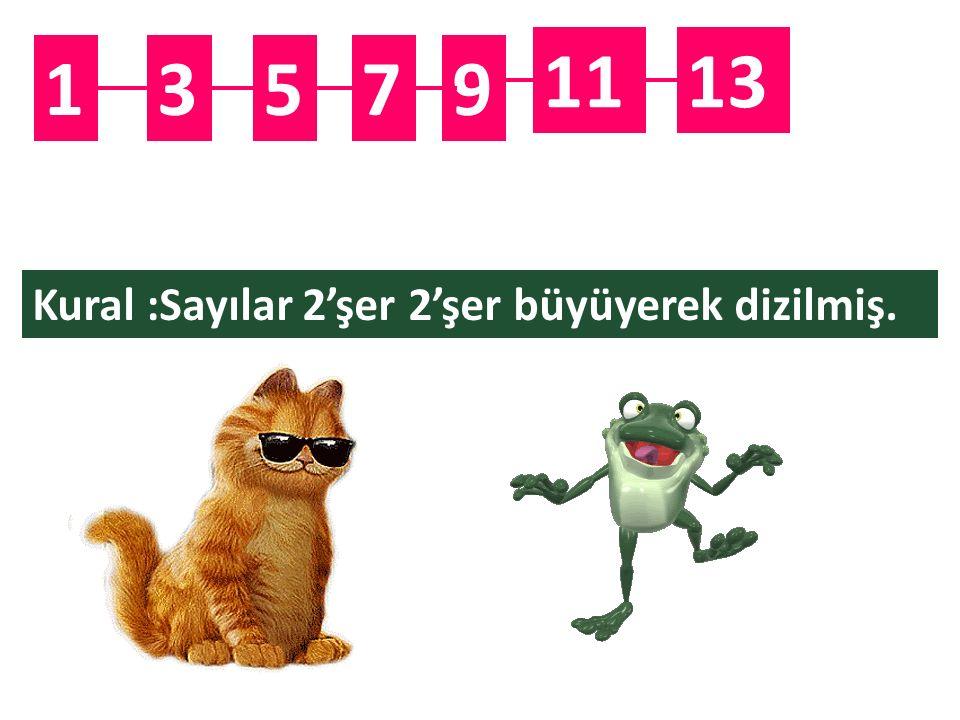 11 13 1 3 5 7 9 Kural :Sayılar 2'şer 2'şer büyüyerek dizilmiş.