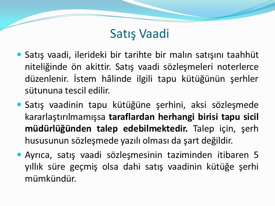 Satış Vaadi