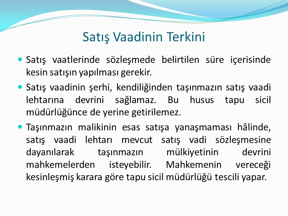 Satış Vaadinin Terkini