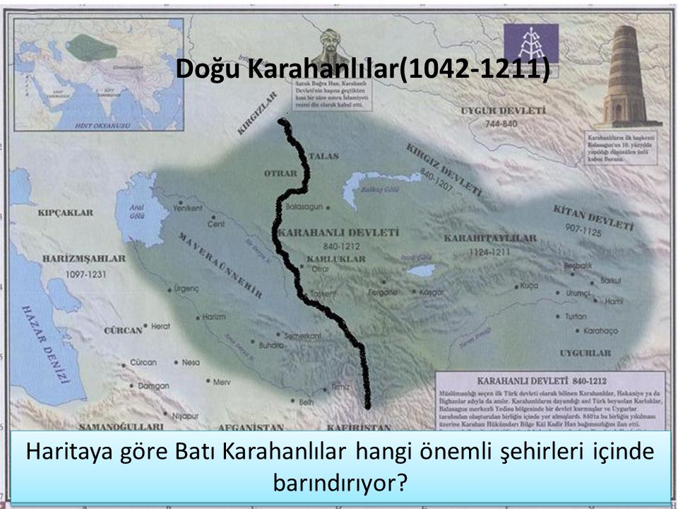 Doğu Karahanlılar(1042-1211) Haritaya göre Batı Karahanlılar hangi önemli şehirleri içinde barındırıyor
