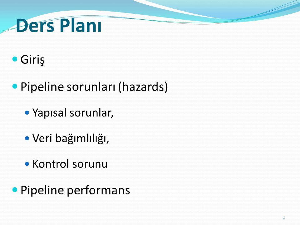 Ders Planı Giriş Pipeline sorunları (hazards) Pipeline performans
