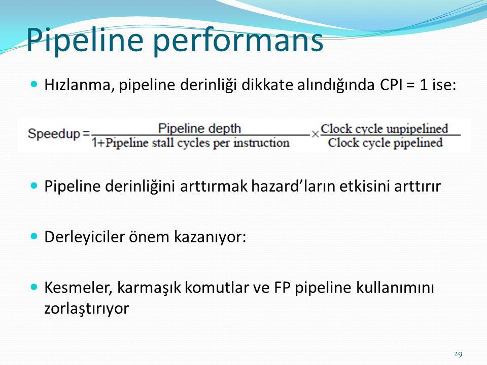 Pipeline performans Hızlanma, pipeline derinliği dikkate alındığında CPI = 1 ise: Pipeline derinliğini arttırmak hazard'ların etkisini arttırır.