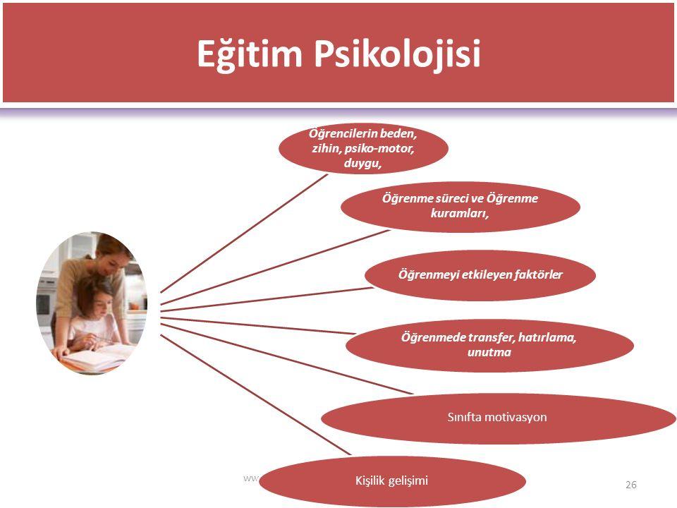 Eğitim Psikolojisi Öğrencilerin beden, zihin, psiko‐motor, duygu,