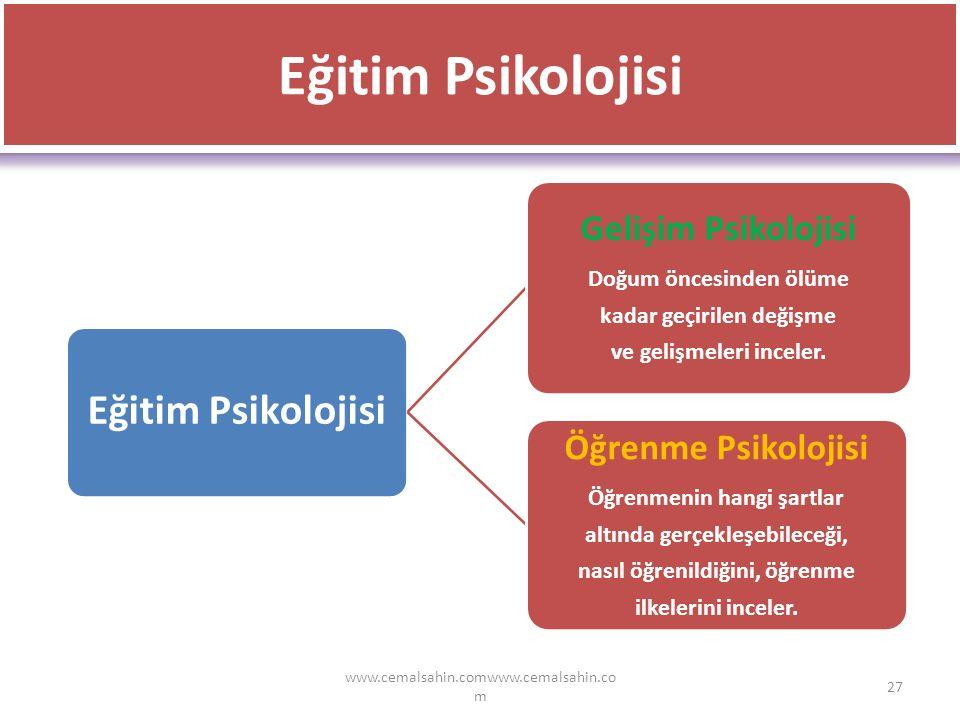 Eğitim Psikolojisi Eğitim Psikolojisi Öğrenme Psikolojisi