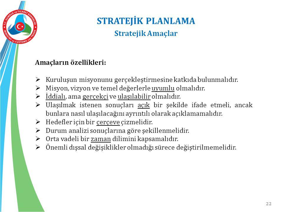 STRATEJİK PLANLAMA Stratejik Amaçlar Amaçların özellikleri: