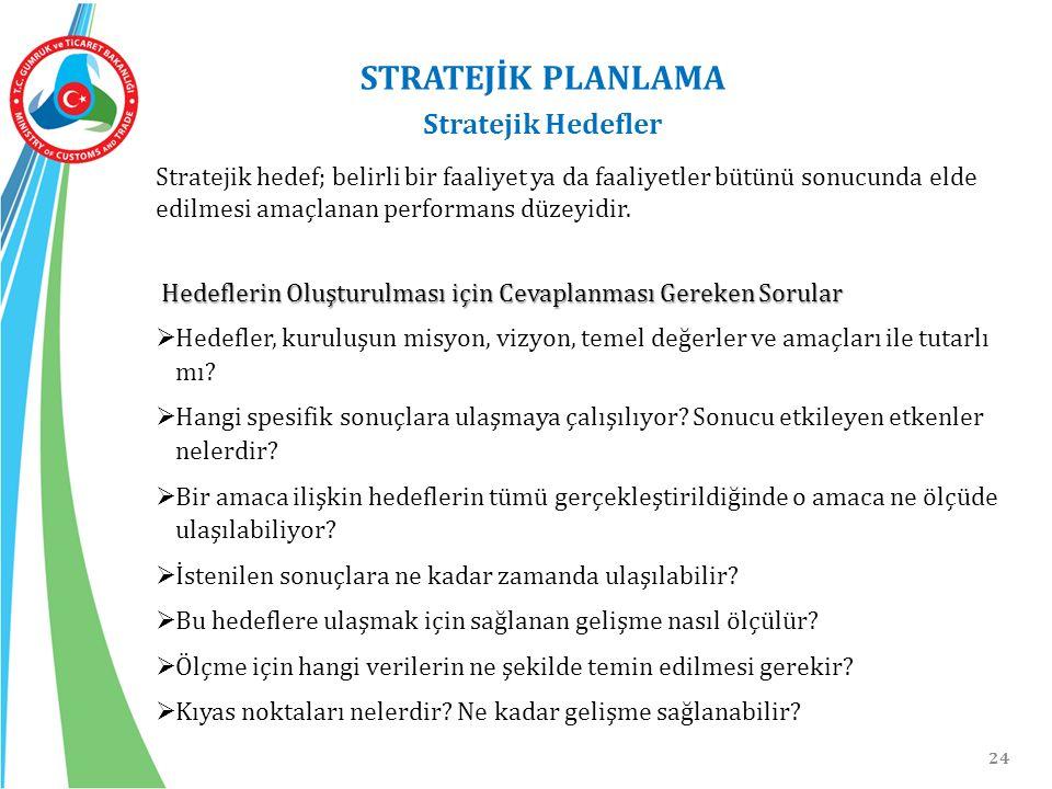 STRATEJİK PLANLAMA Stratejik Hedefler