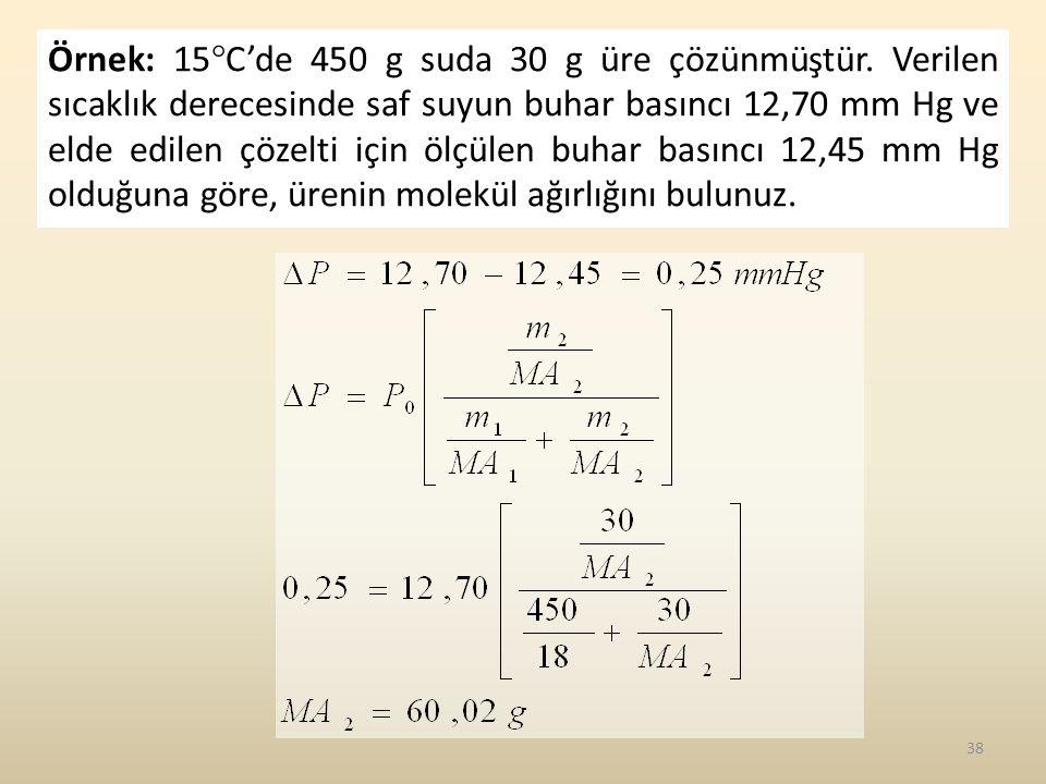Örnek: 15C'de 450 g suda 30 g üre çözünmüştür