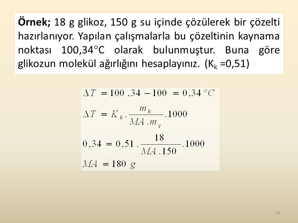 Örnek; 18 g glikoz, 150 g su içinde çözülerek bir çözelti hazırlanıyor