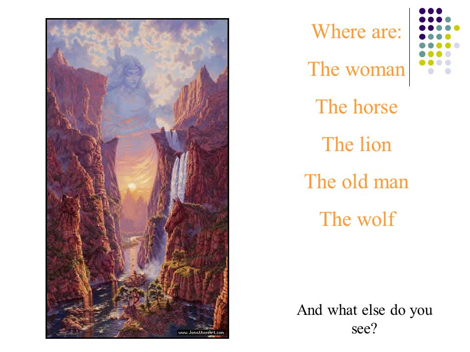 Where are: The woman The horse The lion The old man The wolf
