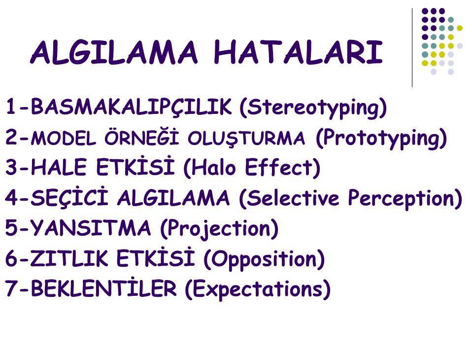 ALGILAMA HATALARI 1-BASMAKALIPÇILIK (Stereotyping)