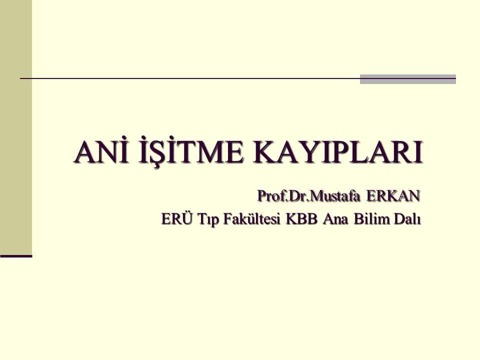 ANİ İŞİTME KAYIPLARI. Prof. Dr