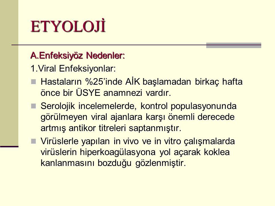 ETYOLOJİ A.Enfeksiyöz Nedenler: 1.Viral Enfeksiyonlar: