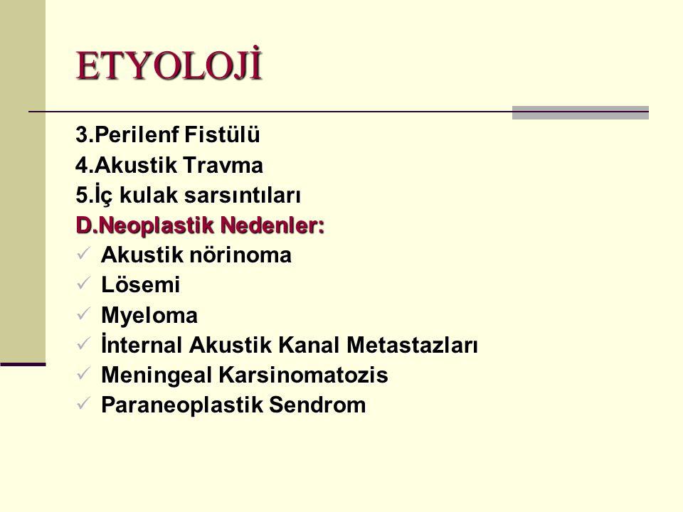 ETYOLOJİ 3.Perilenf Fistülü 4.Akustik Travma 5.İç kulak sarsıntıları