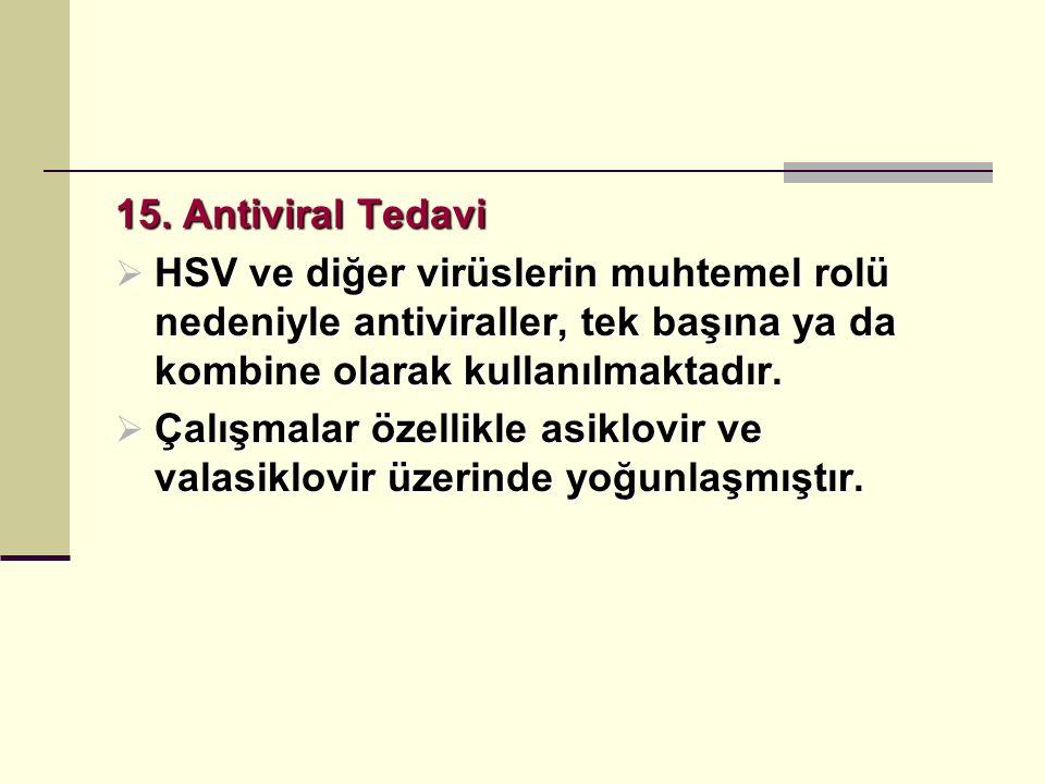 15. Antiviral Tedavi HSV ve diğer virüslerin muhtemel rolü nedeniyle antiviraller, tek başına ya da kombine olarak kullanılmaktadır.