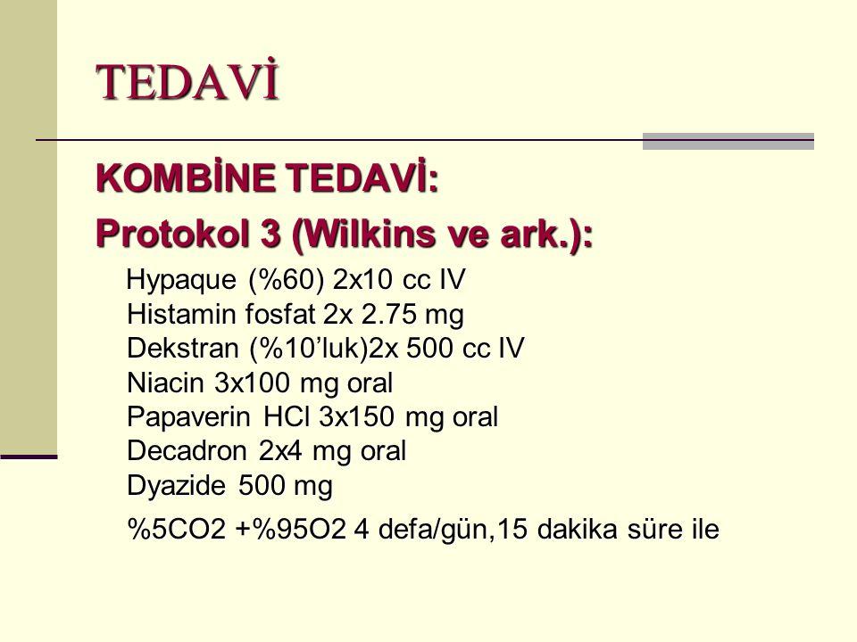 TEDAVİ KOMBİNE TEDAVİ: Protokol 3 (Wilkins ve ark.):