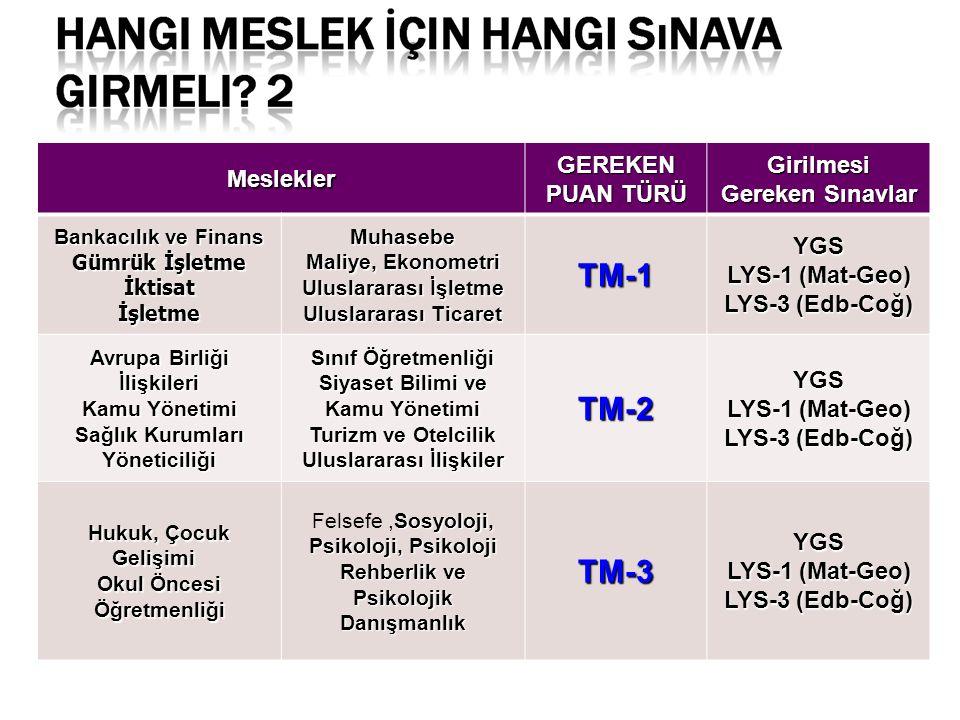 TM-1 TM-2 TM-3 Meslekler GEREKEN PUAN TÜRÜ Girilmesi Gereken Sınavlar