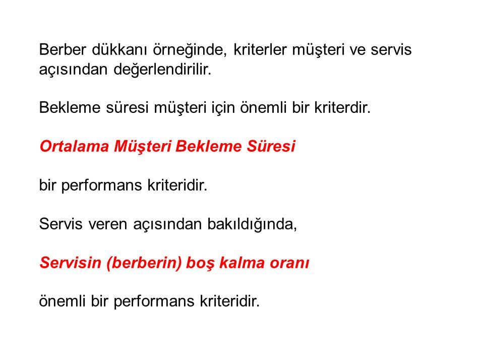 Berber dükkanı örneğinde, kriterler müşteri ve servis açısından değerlendirilir.