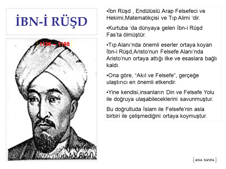 İbn Rüşd , Endülüslü Arap Felsefeci ve Hekimi,Matematikçisi ve Tıp Alimi 'dir.