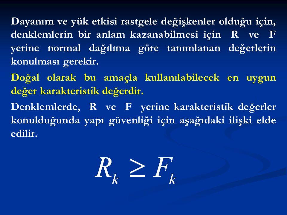 Dayanım ve yük etkisi rastgele değişkenler olduğu için, denklemlerin bir anlam kazanabilmesi için R ve F yerine normal dağılıma göre tanımlanan değerlerin konulması gerekir.