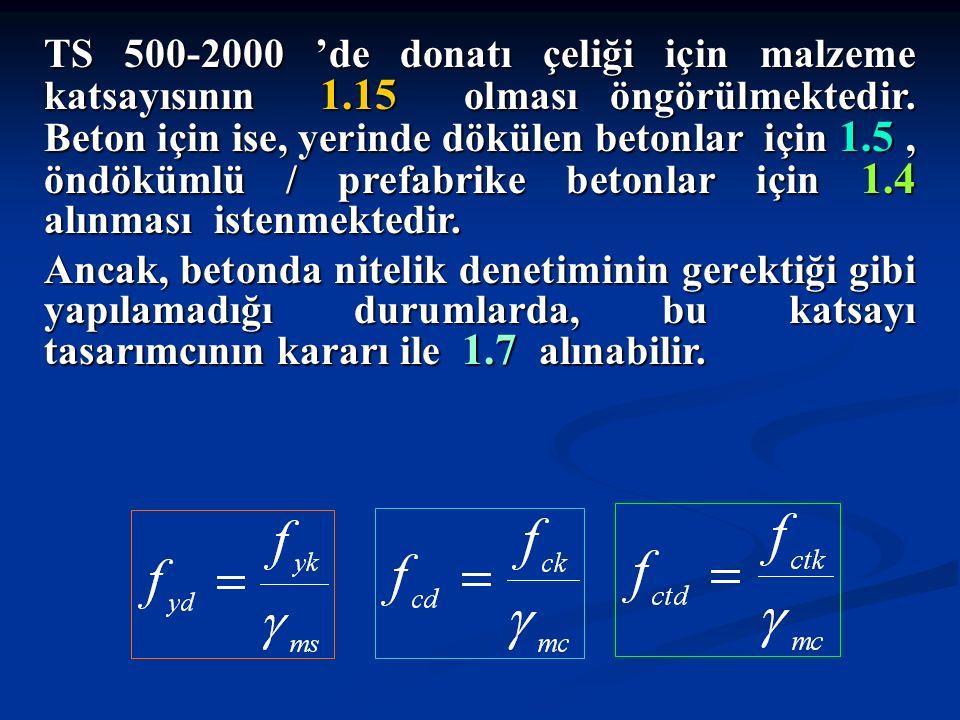 TS 500-2000 'de donatı çeliği için malzeme katsayısının 1