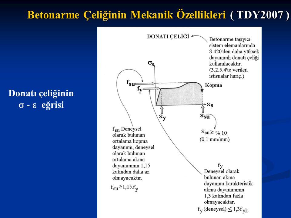 Betonarme Çeliğinin Mekanik Özellikleri ( TDY2007 )