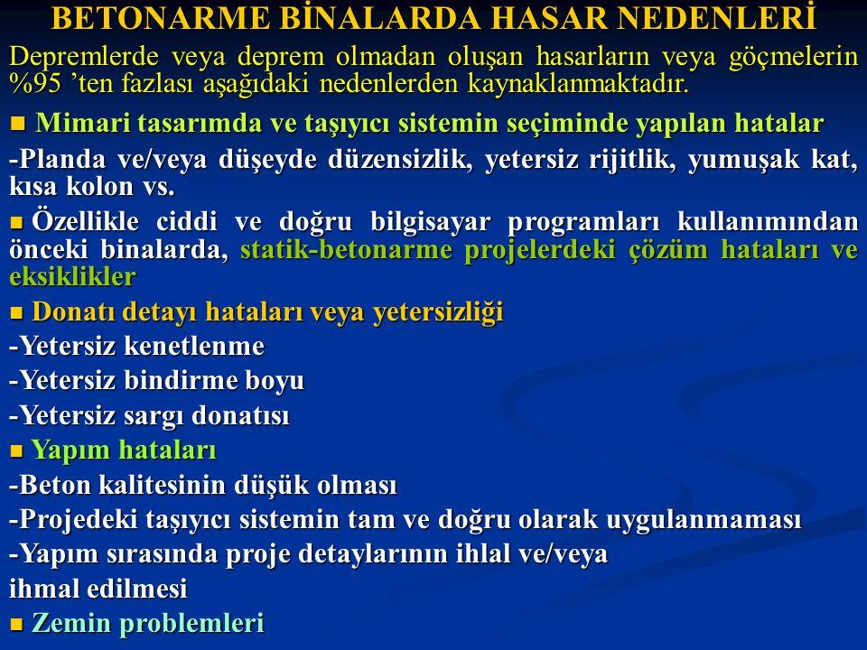 BETONARME BİNALARDA HASAR NEDENLERİ