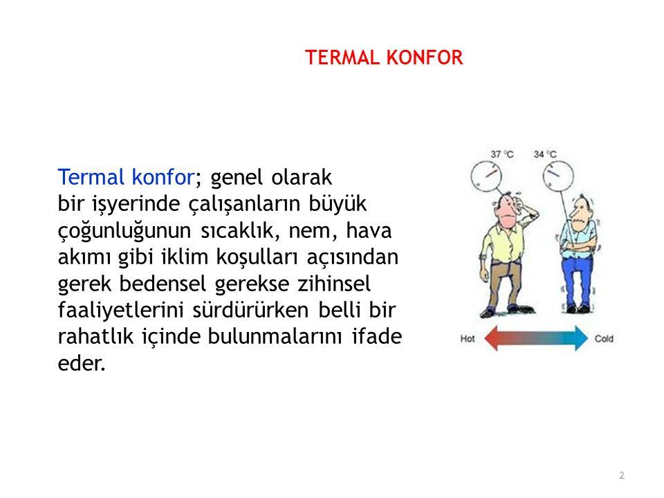 Termal konfor; genel olarak bir işyerinde çalışanların büyük